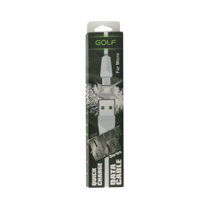 Cablu Golf Diamond MicroUSB 27M Alb